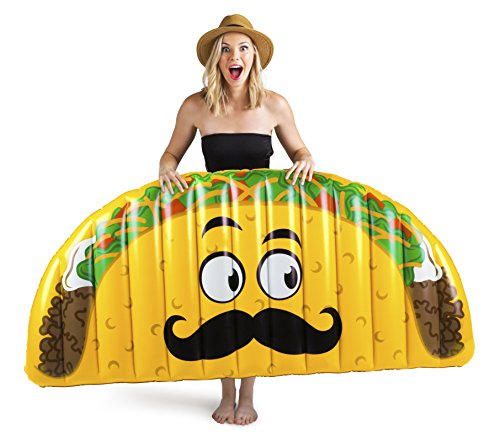 BigMouth Inc Giant Inflatable Taco Pool Floats, Durable Pool Tube with Patch Kit -