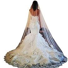 Scarlett White Ivory 1 Layer Lace Edge Long Cathedral Wedding Bridal Headwear Veil
