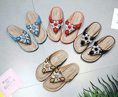 Low con Mujer Sandals Bohemia Imitación Shoes de Azul para de Women Roman Summer Cuentas Diamantes Topcloud Zapatillas Wedge Chanclas Beach Comfy EwOAx6Wq1