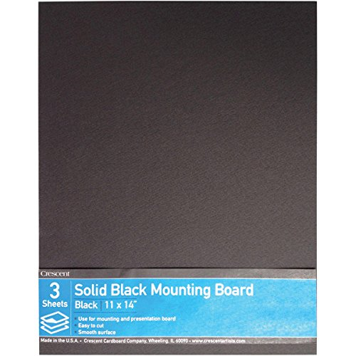 Crescent Ultra-Black #8 Mounting Board, Double-sided, Value Pack, 3 Count, 11'' x 14'' Size by Crescent Cardboard Co