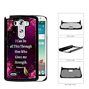 Philippians 4:13 Bible Verse with Floral Pink Purple Magenta Design LG G3 VS985 Hard Snap on Plastic Cell Phone Case Cover