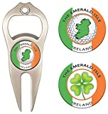 Hat Trick Openers 6-in-1 Golf Divot Tool & Poker Chip Marker Set with Ireland Logo, Nickel