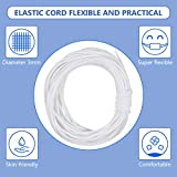 White Elastic Cord Earloop for Face Mask DIY Crafts Project Bracelet String Trim for Crafting,Hanging, Mask Making,10 Yards Long