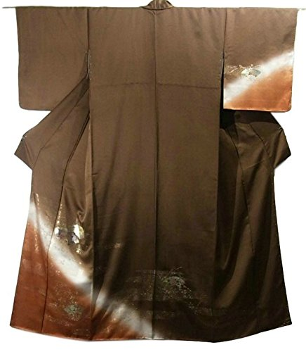安心知覚情熱的リサイクル 着物 訪問着 正絹 袷 地紙に萩 裄64.5cm 身丈157cm