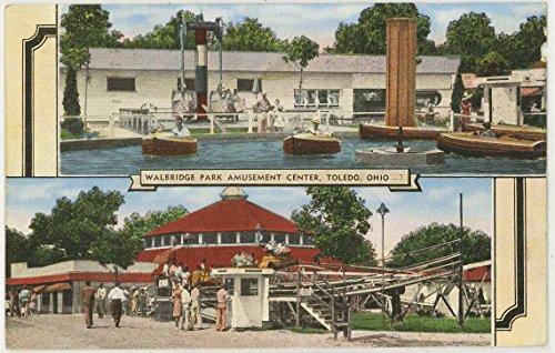 Walbridge Park Amusement Center Carnival Rides (Vintage Linen Amusement Park Postcard) #32465N