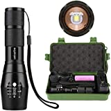 Ustopfire Tactical LED Flashlight, TC 1200 Small Flashlights 2000 High Lumens with Rechargeable Battery and Charger - 5 Modes, Zoomable, Waterproof Handheld Light For Camping, Emergency