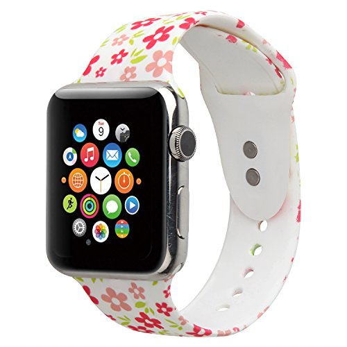 YOUKEX Floral Sport Band Compatible for Apple Watch 42mm 44mm 38mm 40mm,Floral Soft Silicone Strap Replacement Wristbands Replacement for Apple Watch Sport Series 4 3 2 1(42/44 F-19 S/M)