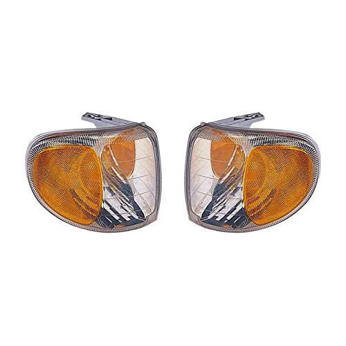 (Evan-Fischer EVA20572058710 Corner Light Set of 2 Passenger & Driver Side RH LH Lamp Park Parking Marker Plastic lens Clear and amber DOT SAE approved)