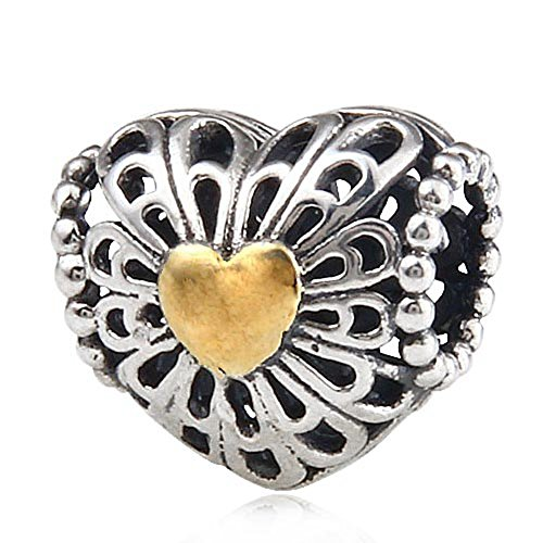 Hollow Heart Charm Silver (Hollow Golden Heart Bead Charms - 925 Sterling Silver Gold Plated Bead - Fits DIY Charms Bracelet)