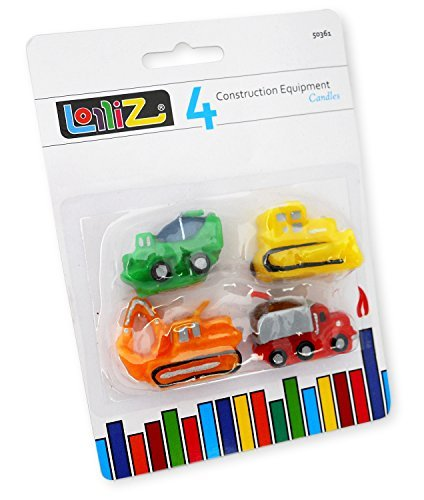 LolliZ Birthday Candles Construction Equipment Theme. Pack of 4. Fun, Bright Colors