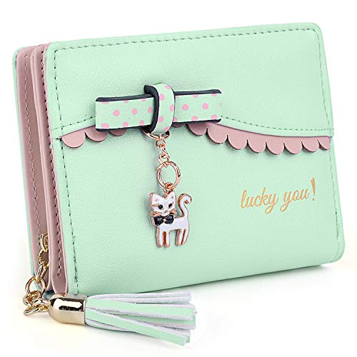 Glamour Business Card - UTO Wallet for Girls PU Leather Card Holder Organizer Women Small Cute Coin Purse Green