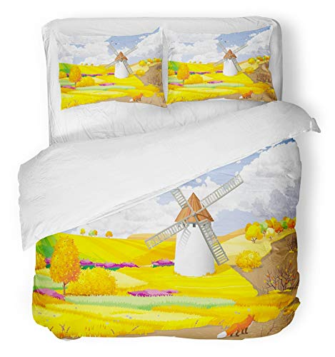 t Cover Set Breathable Brushed Microfiber Fabric Blue Agriculture Autumn Rural Landscape with Fields and Windmill Orange Birds Clouds Bedding with 2 Pillow Covers Full/Queen Size ()