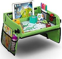 Vassoio di viaggio per auto da toddler, Lenbest Travel Snack e Play Tray da viaggio, support per bambini - auto, vassoio, passeggino (verde)