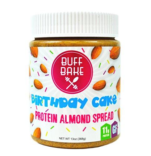 Buff Bake - Protein Almond Spread - Birthday Cake - Organic, Non-GMO, Gluten-Free - 13 oz. Jar