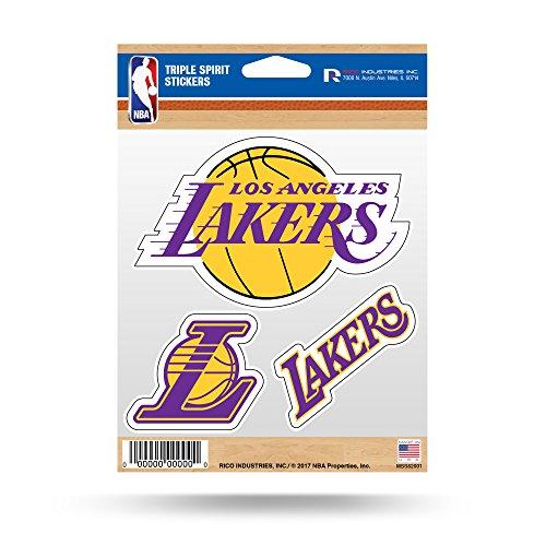 NBA Los Angeles Lakers Triple Spirit Stickers, Yellow, Purple, 3 Team Stickers Los Angeles Lakers Car