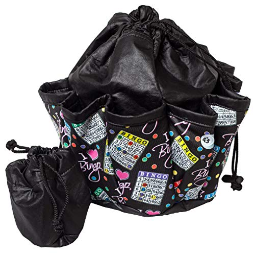 ABS Novelties I Love Bingo Pattern 10 Pocket Tote (Black)
