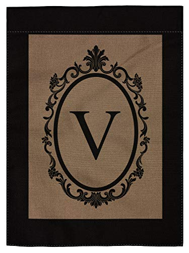 pingpi V Garden Flag Burlap Monogram Flag Double Sided 12.5