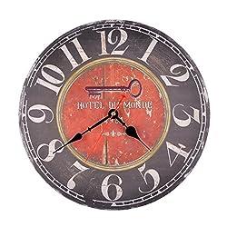 12 Inch Hotel Du Monde Vintage Silent Wooden Wall Clock Home Decoration