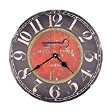 "12 Inch ""Hotel Du Monde"" Vintage Silent Wooden Wall Clock Home Decoration For Sale"