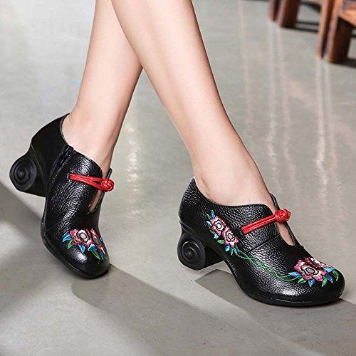 KHSKX-Folk Estilo Casual Zapatos De Cuero Bordado Bordado Retro Zapatos Zapatos Zapatos Y Zapatos Zapatos Cheongsam Madre black