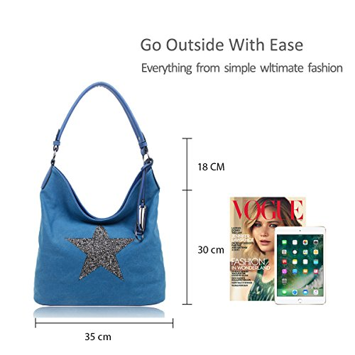 Bright Sparking Star Embellished cm 35x30x14 Star Shoulder Shopper Medium Rhinestone Size Tote Bag Canvas Fuchsia TT1qOBw