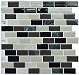 "marble tile bathroom  Peel and Stick Self-Adhesive Backsplash Tile for Bathroom and Kitchen DIY Renovation Project, Multi-Color Marble, Item# 91010859, 10"" X 10"", 1 Sheet Sample"