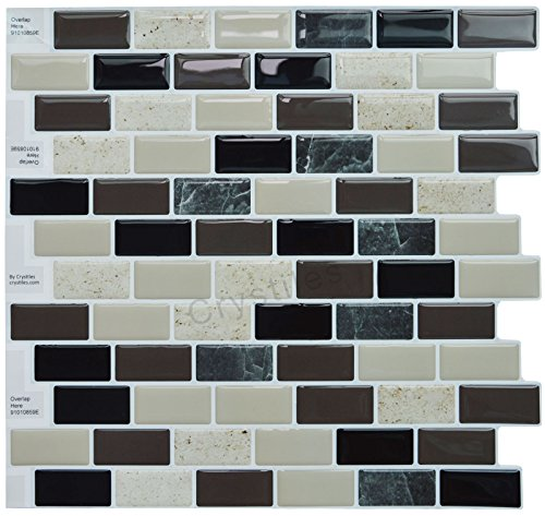 "Peel and Stick Self-Adhesive Backsplash Tile for Bathroom and Kitchen DIY Renovation Project, Multi-Color Marble, Item# 91010859, 10"" X 10"", 1 Sheet Sample"