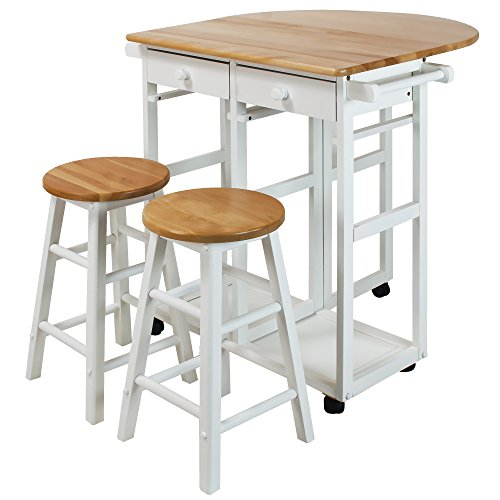 Casual Home 355-21 Drop Leaf Breakfast Cart with 2 Stools-White (Table Stools With Breakfast)