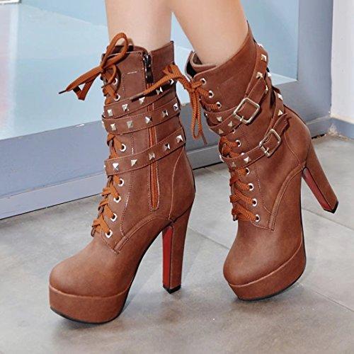 AIYOUMEI Women's Classic Boot Brown 0w6J8fs
