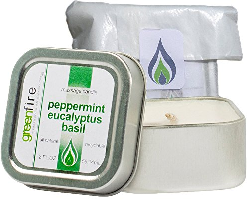 Greenfire All Natural Massage Oil Candle, Peppermint Eucalyptus Basil, Travel Size 2 Fluid Ounce