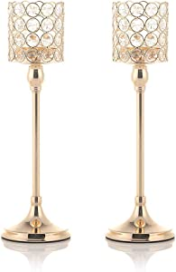 VINCIGANT Holiday Decoration Crystal Candle Holders Pack of 2 for Anniversary Wedding Coffee Table Decorative Centerpieces, 14 Inches Tall