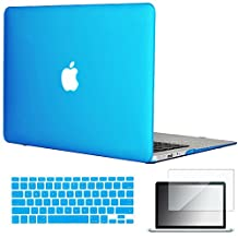"Easygoby 3in1 Matte Frosted Silky-Smooth Soft-Touch Hard Shell Case Cover for 13-inch MacBook Air 13.3"" (Model:A1369 / A1466) + Keyboard Cover + Screen Protector - Aqua Blue"
