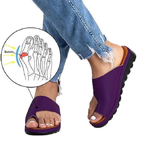 Flip Ring - Womens Platform Sandals Summer Flip Flops Slide Sandals Casual Toe Ring Sandal Flats PURPEL36 (6)