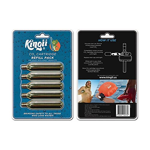 Kingii 12g CO2 DISPOSABLE CARTRIDGE 3/8 threaded with 24 threads per inch - 5-Pack (Thread 12g Co2 Non)