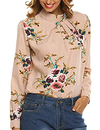 Naggoo Women's Loose Chiffon Long Sleeve Floral Print Blouse Tops Shirt