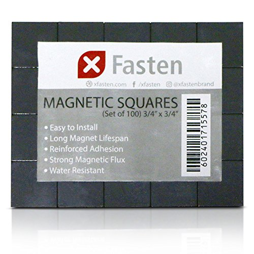 XFasten Magnetic Squares 3/4-Inch x 3/4-Inch (Set of 100) Adhesive Magnets for Magnetic Business Cards, Flash Cards, Name Tags and Fridge Organization (Notes Post Promotional It)