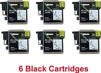 6 Negro COMPATIBLE Cartuchos de Tinta LC985 para BROTHER ...