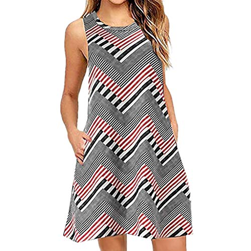 Xinantime Womens Dress Summer O-Neck Boho Sleeveless Beach Mini Dress Casual T-Shirt Short Dress Gray