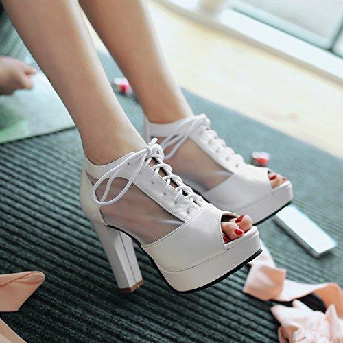8b02ce930c0e ... YE Elegant Damen Blockabsatz Peep Toe High Heels Plateau Pumps mit  Schnürung 10cm Absatz Schuhe Weiß
