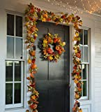 Indoor Outdoor Pumpkins and Pine Cones Fall Autumn Garland 8 W x 8 H x 72 L