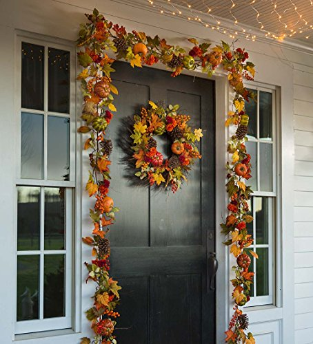 Indoor Outdoor Pumpkins and Pine Cones Fall Autumn Garland 8 W x 8 H x 72 L by Plow & Hearth