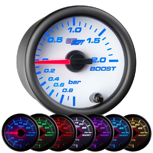 GlowShift White 7 Color BAR Boost / Vacuum Gauge
