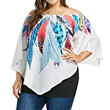 OSTELY Women's Casua Plus Bats Sleeves Feather Printing Tops T-Shirt Blouse(White, XXX-Large)
