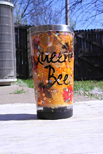 Queen Bee Gold Glitter Flowers Glitter Snow Globe 20 oz Stainless Steel Double Walled Tumbler with lid honeycomb honey bees