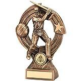 Lapal Dimension BRZ/GOLD CRICKET BATSMAN 'QUARTZ' FIGURE TROPHY - (1in CENTRE) 8.25in