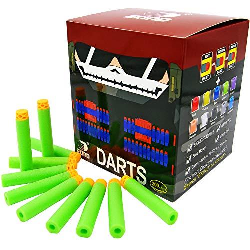 EKIND 200 Pcs 7.2cm TPR Waffles Soft Head Darts Refill Foam Bullet Compatible for Nerf N-Strike Elite AccuStrike Series Blasters Toy Gun(Green)