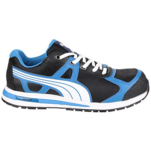 Puma Safety Footwear Mens Aerial Low Leather S1 P HRO Safety Shoes Negro / Azul / Blanco