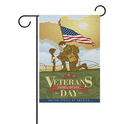(Double Sided Veterans of The Day Soldier of The US Armed Forces and American Flag Polyester Garden Flag Banner 12 x 18 Inch for Outdoor Home Garden Flower Pot)