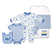 Cutie Pie Boy's 9 Piece Layette Set in Tulle Bag with Hanger Blue 0-3 Months