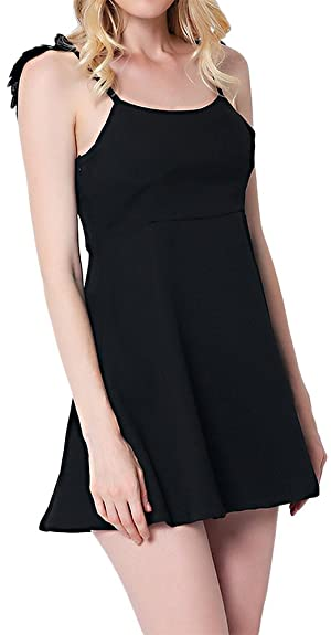 Nextgale Women's Feather Strappy Backless Cami Dress
